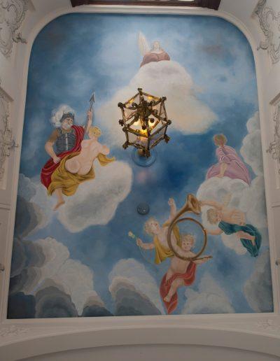Rapenburg 6, plafondschildering in welkomsthal